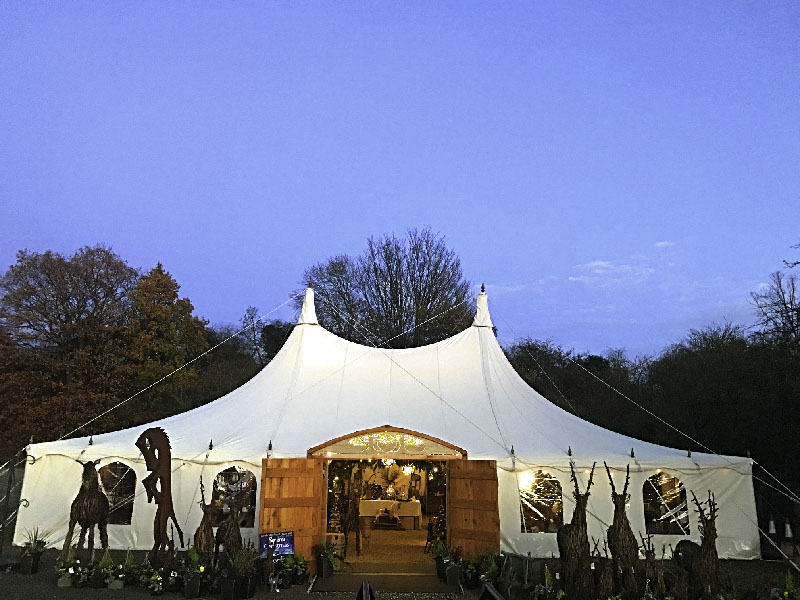 Beautiful Canvas Marquee with Timber Porch_
