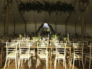 Canvas Wedding Marquee Dining Tables & Lights