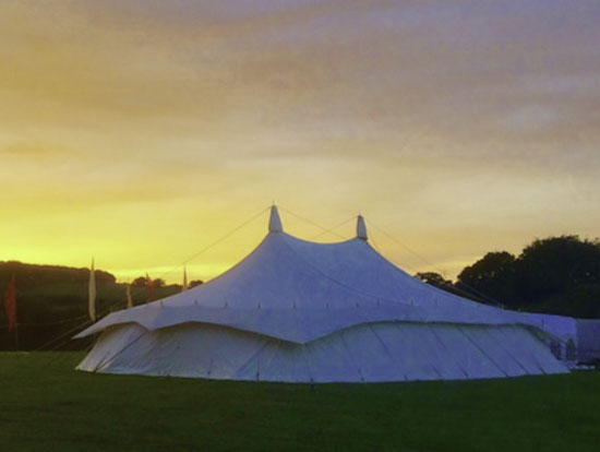 canvas wedding marquee evening before big day
